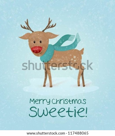 Greeting card with a deer in winter
