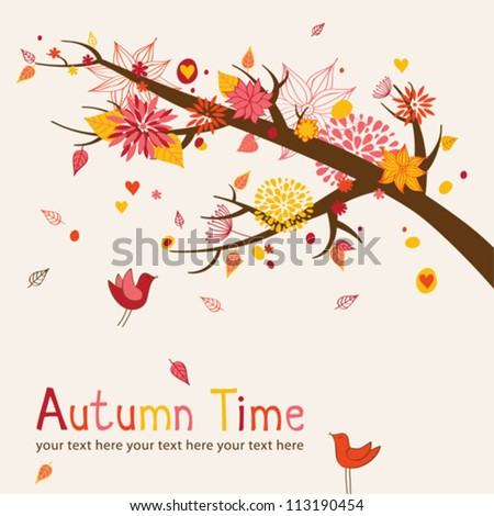 Greeting card with autumn branch