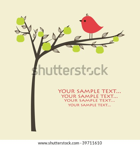 Greeting card with bird on apple tree. Vector illustration.