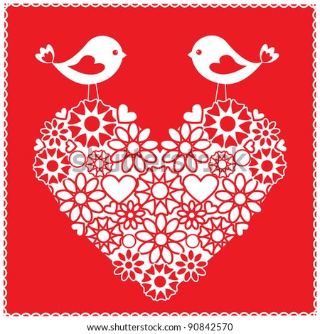 Greeting card with birds for Valentine's day - stock vector