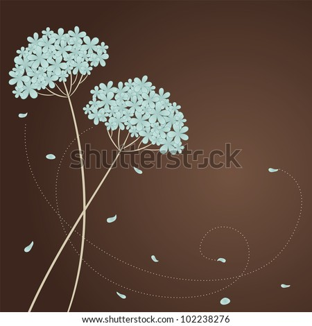Greeting card with blue flowers and place for text