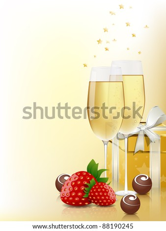 Greeting card with champagne and chocolate