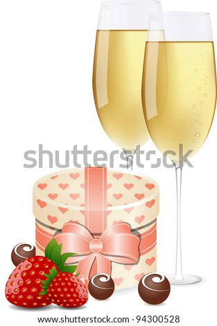 Greeting card with champagne, strawberries, gift box and chocolate