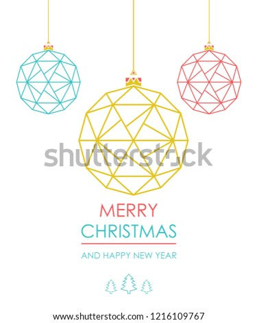 Stock Photo Greeting card with Christmas ball with a pattern of triangles. vector. 5k