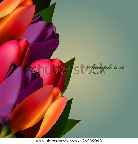 Greeting card with colorful tulips background