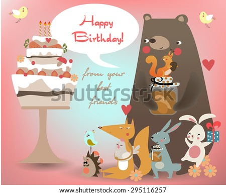 greeting card with cute animals