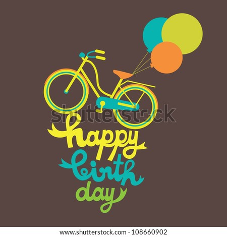 greeting card with cute bike. vector illustration