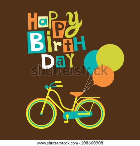 greeting card with cute bike vector illustration