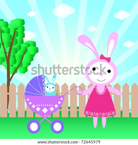 Greeting card with cute bunny baby