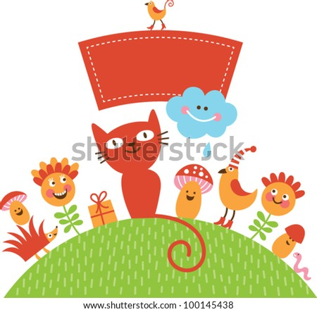 greeting card with cute cartoon animals