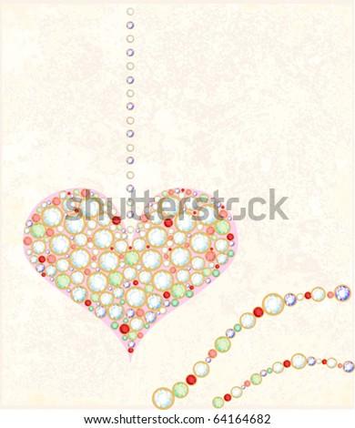 greeting card with diamond heart