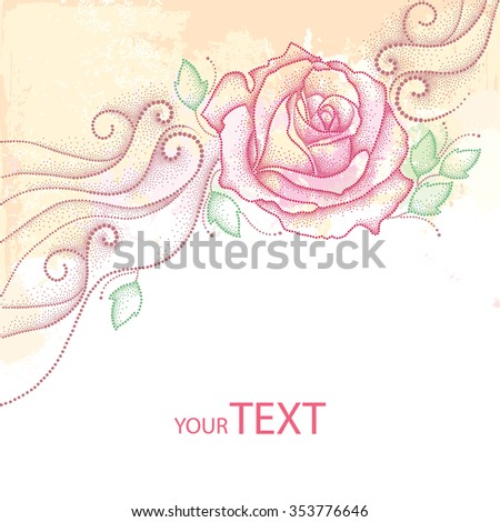 Greeting card with dotted rose flower and leaves on the textured background with blots in pastel colors. Floral elements in dotwork style.