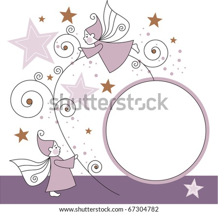 greeting card with elves  stars