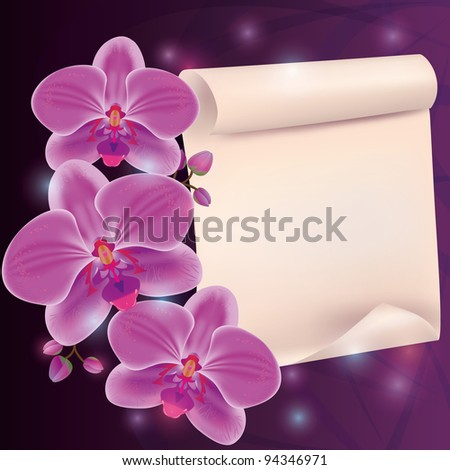 Greeting card with exotic flower orchid and paper - place for text