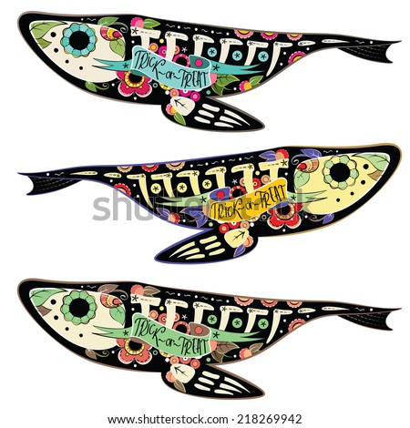 Greeting card with fishes skeletons with floral patterns. Colorfull fishes. Vector illustration
