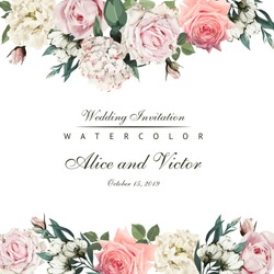Greeting card with flowers, watercolor, can be used as invitation card for wedding, birthday and other holiday and  summer background. Vector