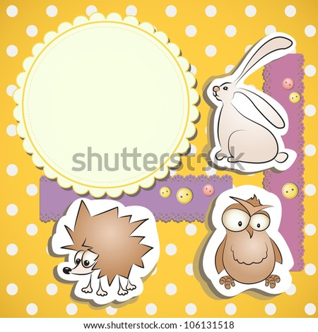 Greeting card with funny animals: hedgehog, owl and rabbit