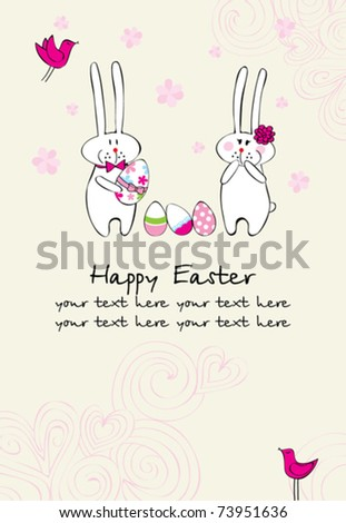 greeting card with funny bunnies and easter eggs