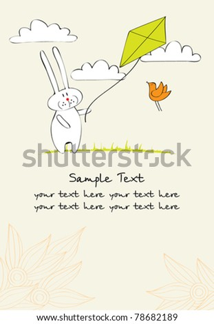 greeting card with funny bunny flying a kite