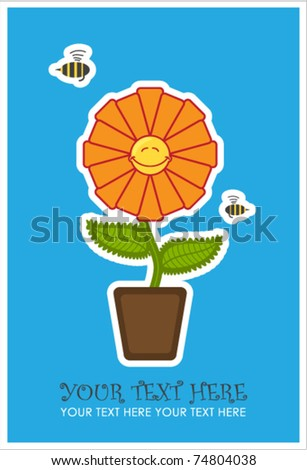 Greeting card with funny flower and bee. Vector illustration. place for your text.