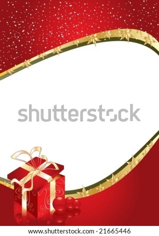 Greeting card with gift box and copy space or place for your image, vector illustration