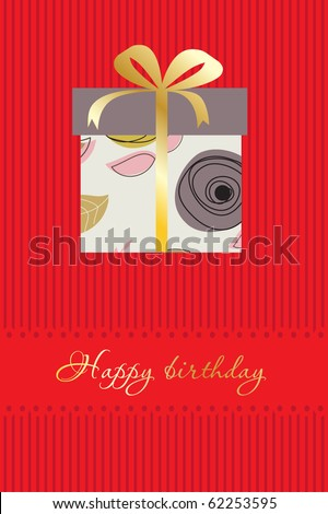 Greeting card with gift box on red background