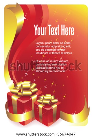 Greeting card with gift boxes and copy space, vector illustration. More vector greeting cards and templates in portfolio.