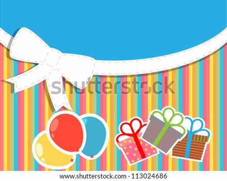 greeting card with gifts, balloons