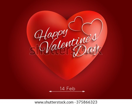 Greeting Card With Glossy Heart  Happy Valentines Day Hand Drawing Vector eps10. #375866323