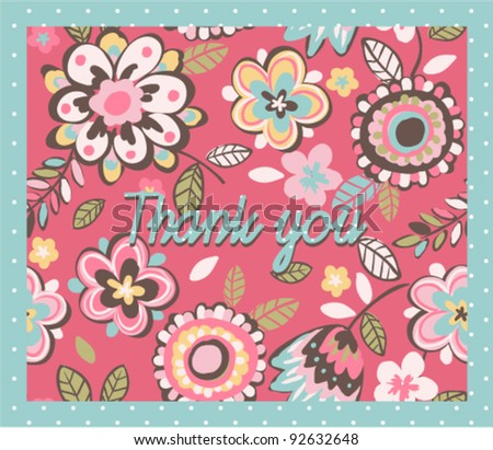 Greeting Card with hand draw cute floral on green dot background