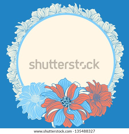 Greeting card with hand-drawn flowers of dahlia, in pink and blue colors