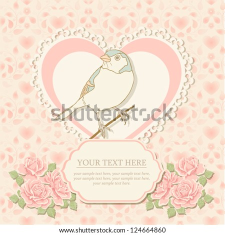 Greeting card with heart shape and bird