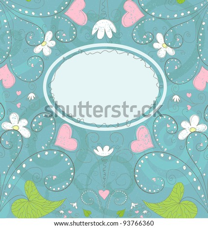 Greeting card with hearts and flowers in grunge style