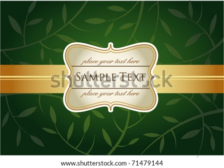 Greeting card with label, green backgroung