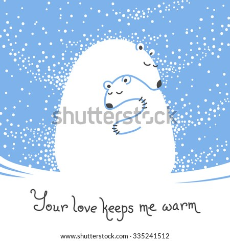 greeting card with mother bear