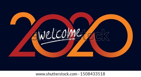 Greeting card with original graphics to welcome the year 2020. It shows a succession of red and yellow curves on a black background.