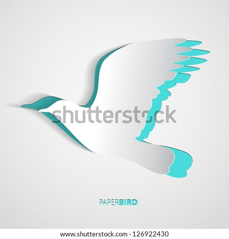 greeting card with paper bird