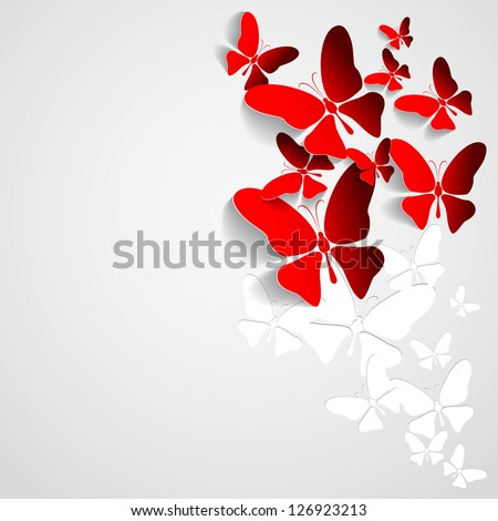 Greeting card with paper butterflies vector