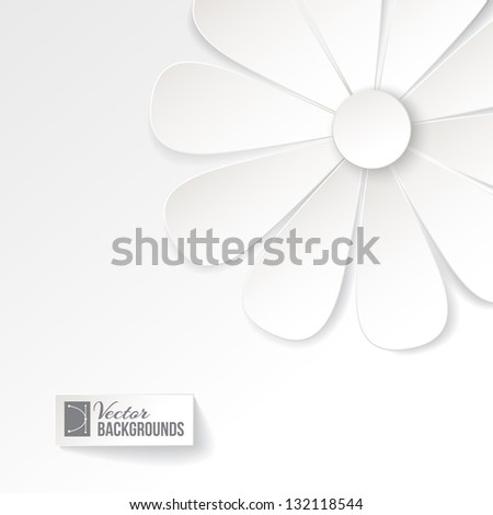 Greeting card with paper flower. Vector illustration, contains transparencies, gradients and effects. - stock vector