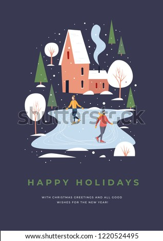 Greeting card with people skating. Skaters on a skating rink in a small town covered with snow. Winter activities and sports. Happy winter holidays. Festive seasonal vector illustration.