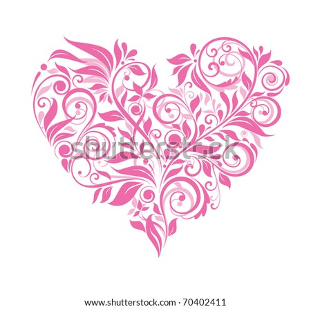Greeting card with pink floral heart - stock vector