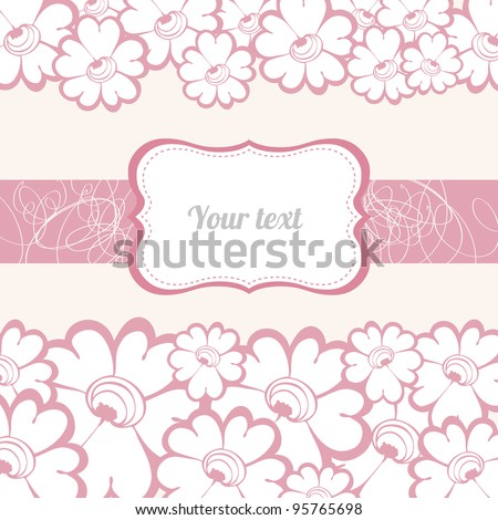 Greeting card with pink flowers and frame