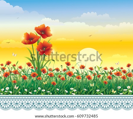 greeting card with poppies on
