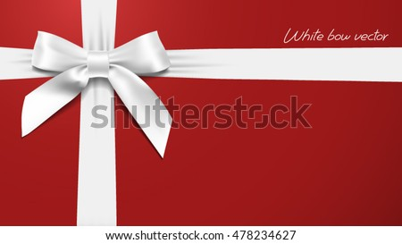 greeting card with realistic White bow on a red background