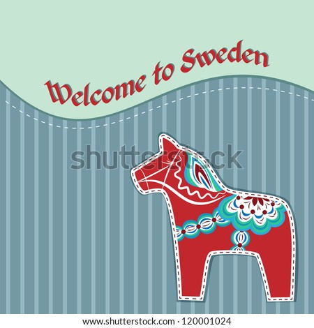Greeting card with red dala horse - national symbol of Sweden - stock vector