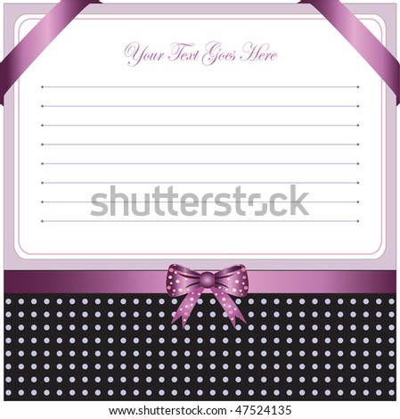 greeting card with ribbon for invitation or congratulation