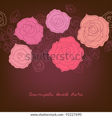 Greeting card with roses (seamless pattern)