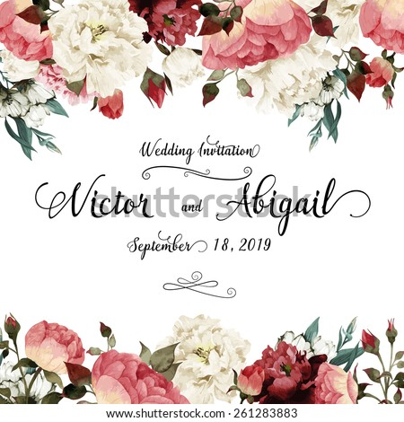 Greeting card with roses, watercolor, can be used as invitation card for wedding, birthday and other holiday and  summer background. Vector illustration.  #261283883