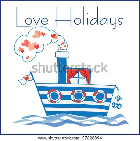 greeting card with sea and boat