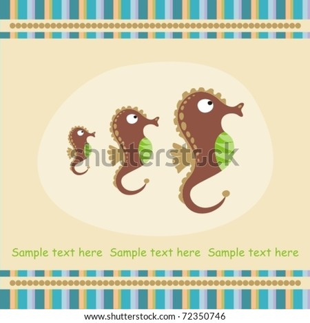greeting card with sea horse